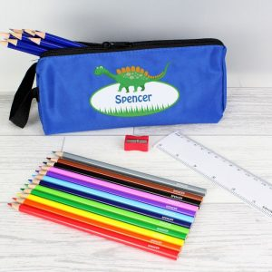 Personalised Blue Dinosaur Pencil Case & Personalised Contents