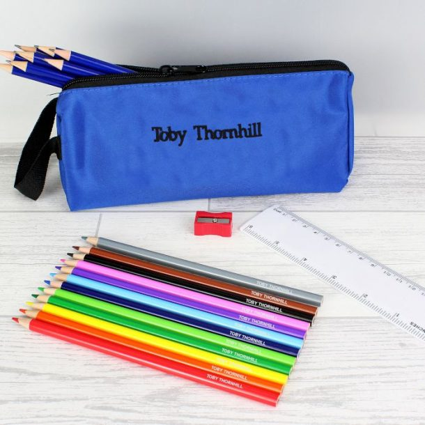 Personalised Blue Pencil Case and Personalised Content