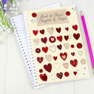 Personalised Fabric Hearts A5 Notebook