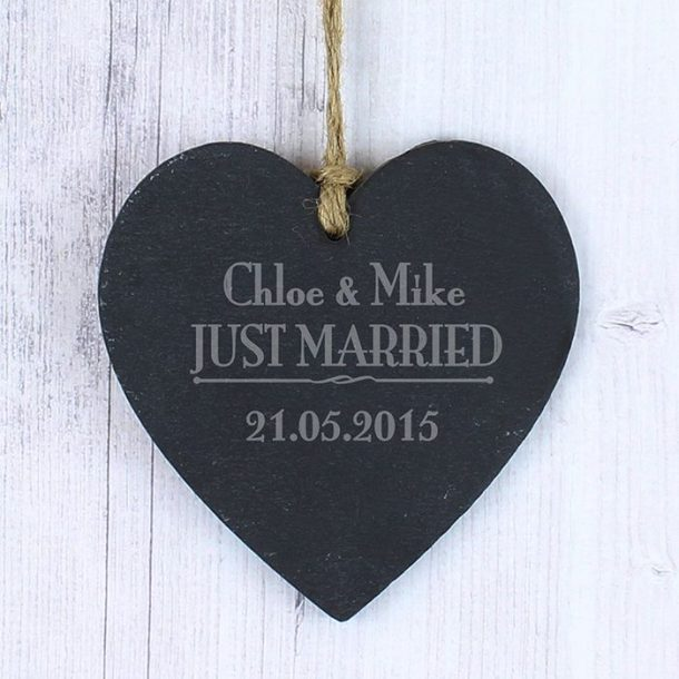 Personalised Just Married Slate Heart Decoration