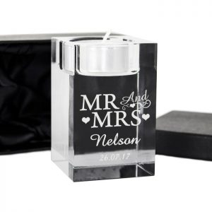 Personalised Mr & Mrs Candle Holder