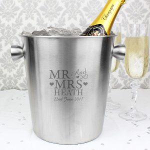 Personalised Mr & Mrs Steel Ice Bucket