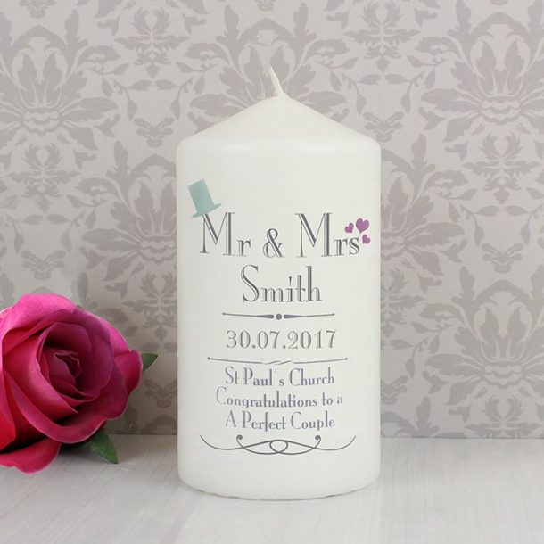 Personalised Mr & Mrs Wedding Candle