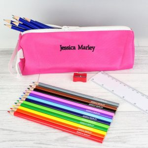 Personalised Pink Pencil Case & Personalised Content