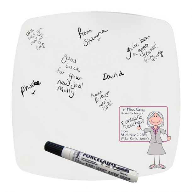 Personalised Pink Teachers Whiteboard Message Plate