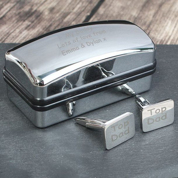 Personalised Top Dad Cufflinks And Case