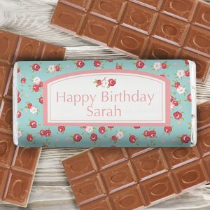 Personalised Vintage Floral Chocolate Bar