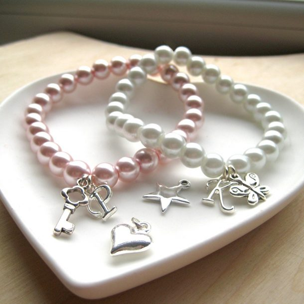 Initial Pearly Charm Bracelet