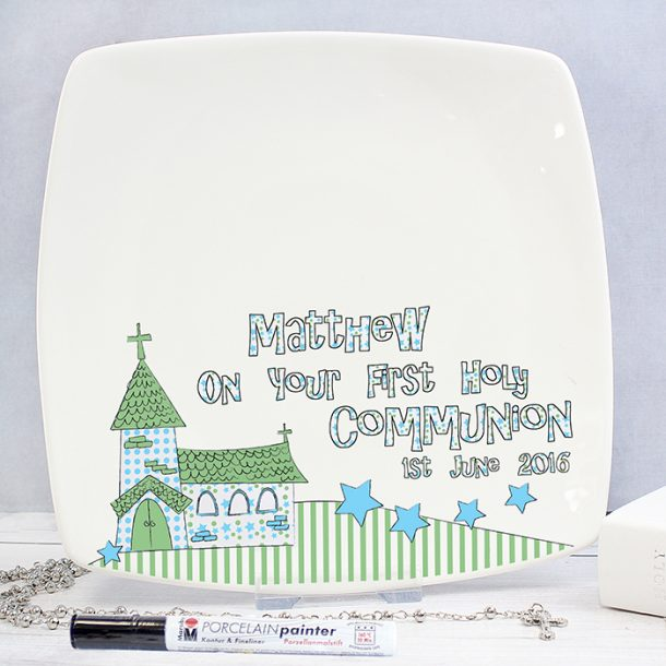 Personalised Blue 1st Holy Communion Message Plate
