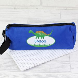 Personalised Blue Dinosaur Pencil Case
