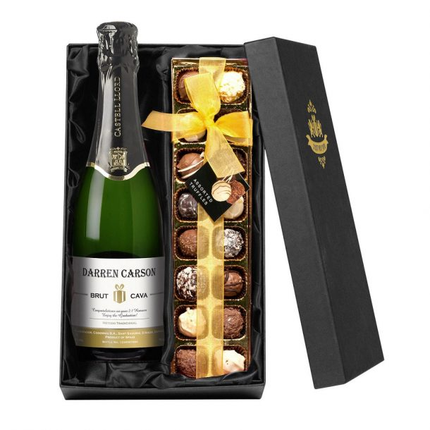 Personalised Cava & Chocolates Gift Set