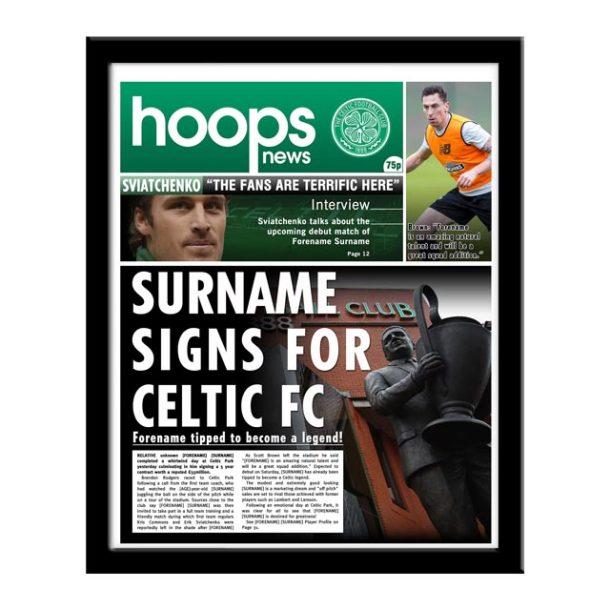 Personalised Celtic FC Framed Newspaper