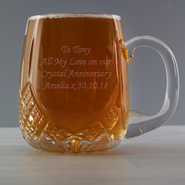 Personalised Crystal Round Pint Glass
