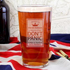 Personalised Don't Panic Pint Glass