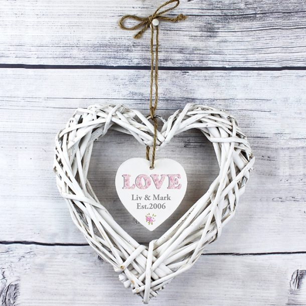 Personalised Floral Design Love Wicker Heart Decoration