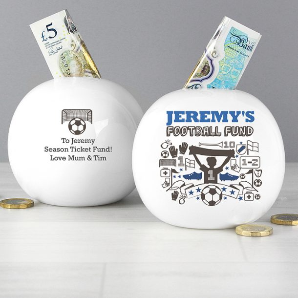 Personalised Football Fund Money Box
