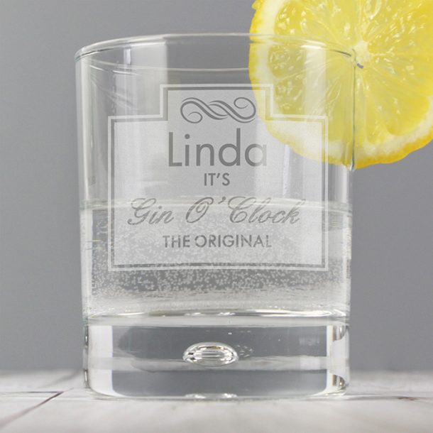 Personalised Gin O'Clock Bubble Glass