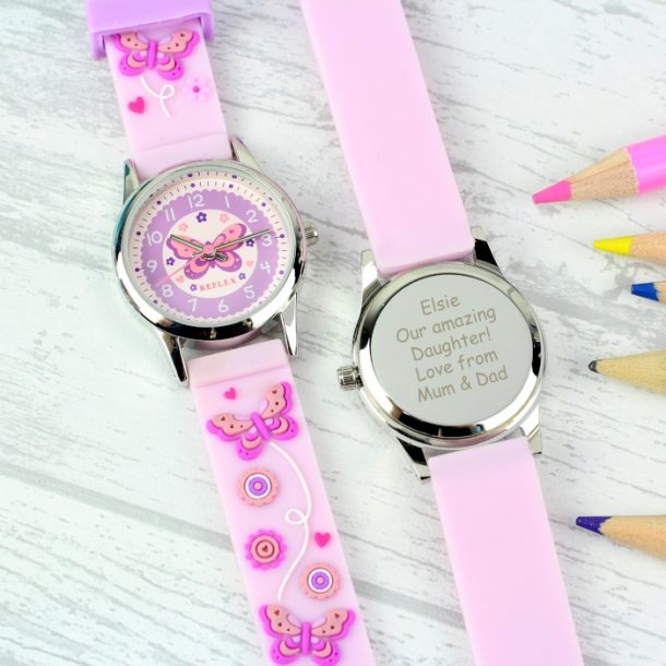 Personalised Girls Pink Butterfly Watch & Presentation Box