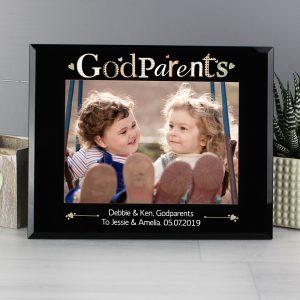 Personalised Godparents Black Glass 7x5 Photo Frame