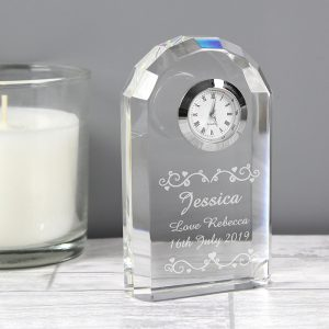 Personalised Heart & Swirl Crystal Clock
