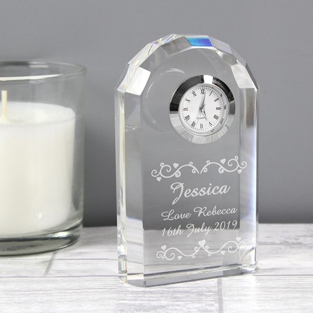 Personalised Heart & Swirl Crystal Clock