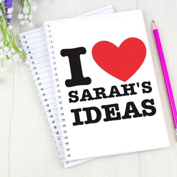 Personalised I HEART A5 Notebook