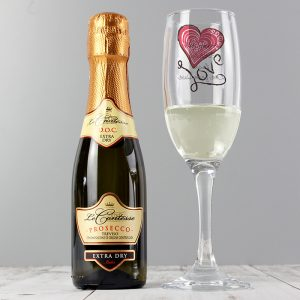 Personalised Love Heart Flute & Mini Prosecco Set