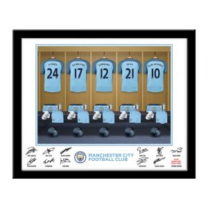 Personalised Man City FC Dressing Room Framed Print
