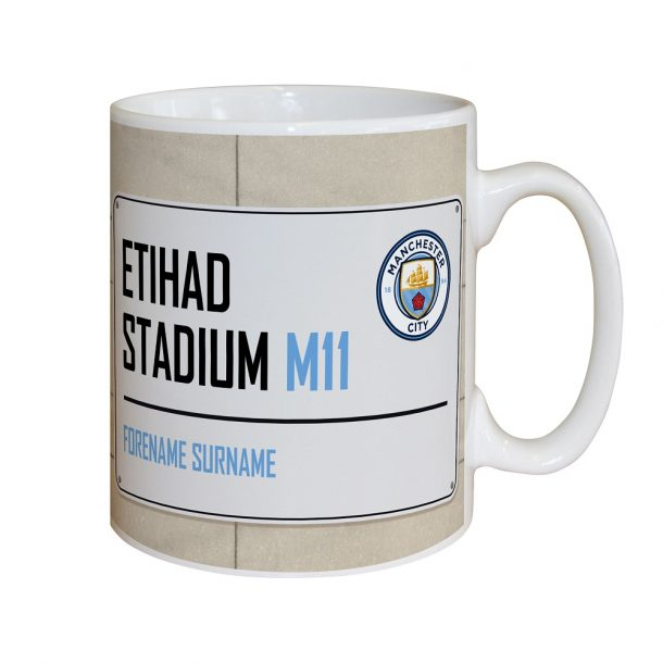 Personalised Manchester City FC Street Sign Mug