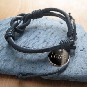 Personalised Men's Leather Knot Bracelet