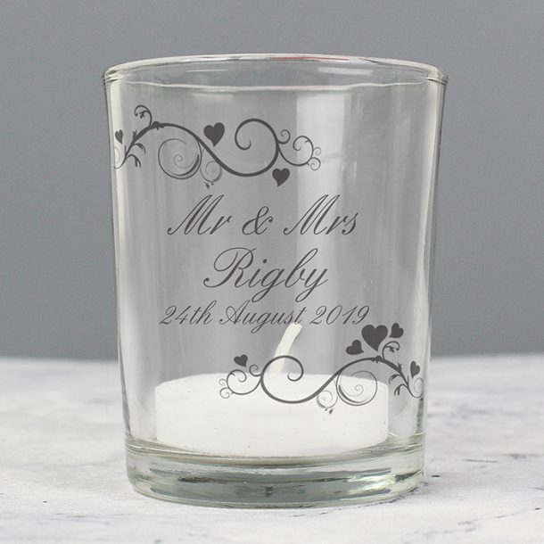Personalised Ornate Swirl Votive Candle Holder