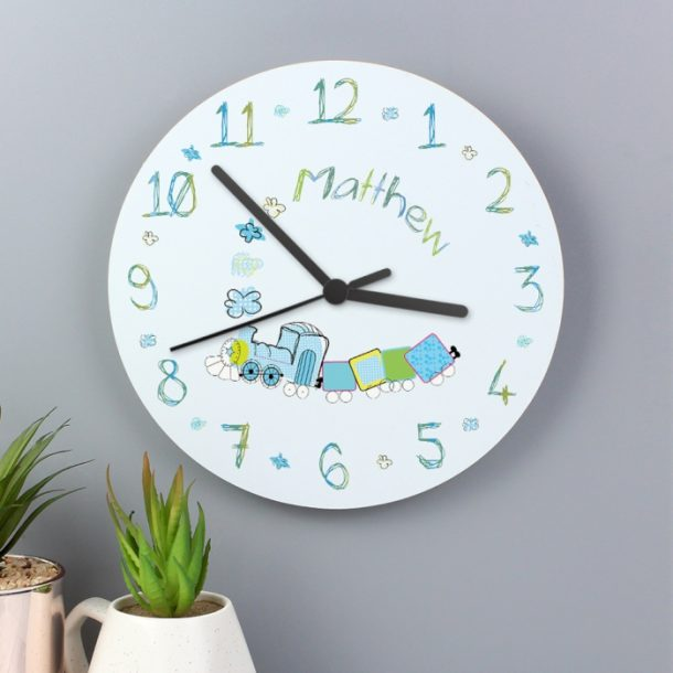 Personalised Patchwork Train Wooden Clock