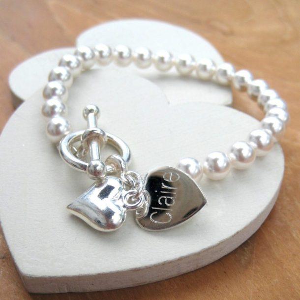Personalised Pearl Heart Charm Bracelet