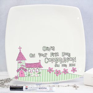 Personalised Pink 1st Holy Communion Message Plate