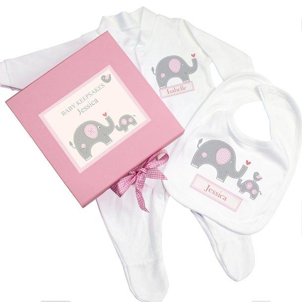 Personalised Pink Baby Elephant Gift Set - Babygrow & Bib