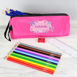 Personalised Pink Butterfly Pencil Case & Personalised Contents
