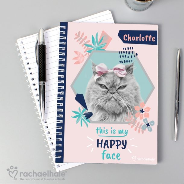 Personalised Rachael Hale Happy Face Cat A5 Notebook