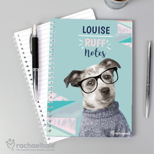 Personalised Rachael Hale Ruff Notes Dog A5 Notebook