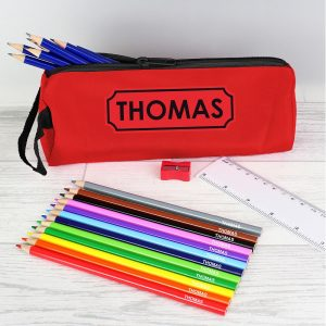 Personalised Red Pencil Case & Personalised Contents