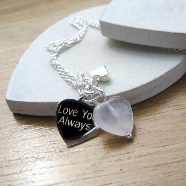 Personalised Rose Quartz Heart Necklace