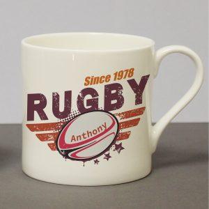 Personalised Rugby Chunky Balmoral Mug