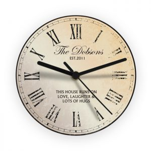 Personalised Rustic Message Glass Clock
