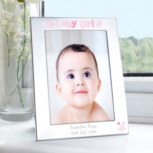 Personalised Silver 5x7 Baby Girl Photo Frame
