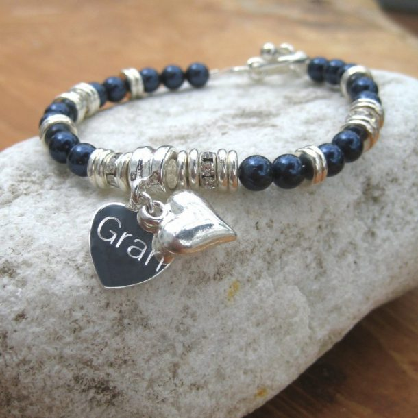 Personalised Swarovski Charm & Heart Toggle Bracelet
