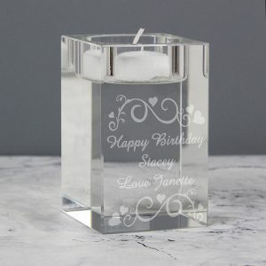 Personalised Swirl Glass Tea Light Candle Holder