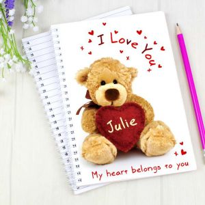 Personalised Teddy Heart A5 Notebook