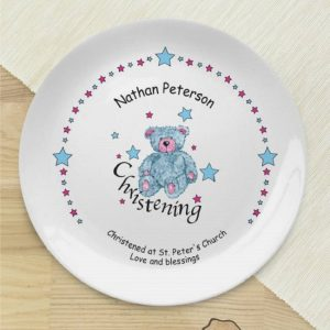 Personalised Teddy & Stars Blue Christening Plate