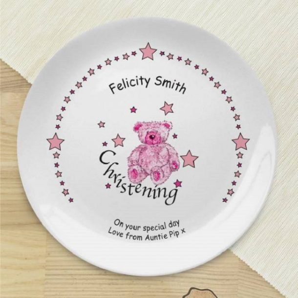 Personalised Teddy & Stars Pink Christening Plate