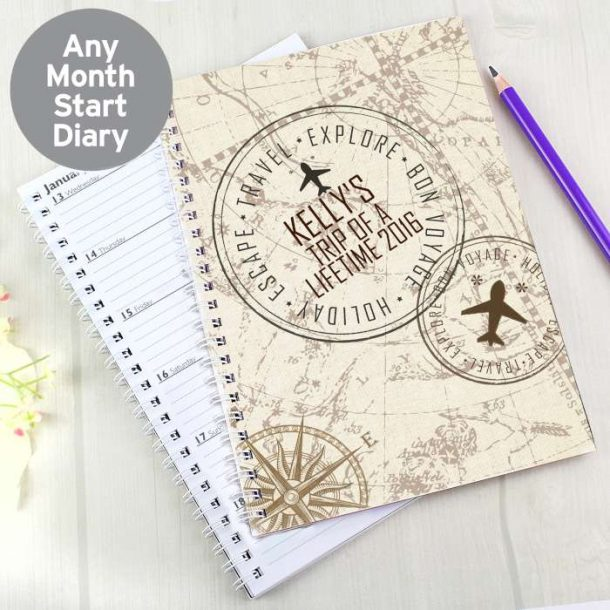 Personalised Travel Stamp A5 Diary