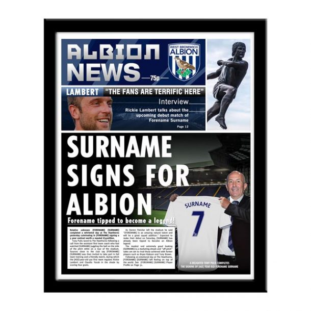 Personalised West Brom FC Newspaper